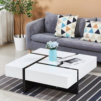 Product photograph showing Nova Storage Coffee Table Square In White High Gloss
