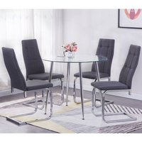 Product photograph showing Nova Round Clear Glass Top Dining Table With 4 Chairs