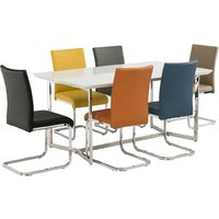 Novara Glass Dining Table In White With Pindall Dining Chairs