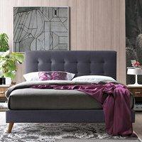 Novara Fabric King Size Bed In Dark Grey With Oak Legs