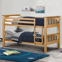 Product photograph showing Novaro Wooden Bunk Bed In Antique Pine With Ladder