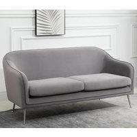 Product photograph showing Novello Fabric Upholstered 2 Seater Sofa In Grey
