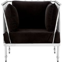 image-Novo Bedroom Chair In Black With Silver Finish Tapered Arms