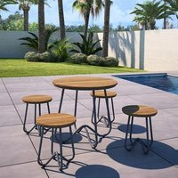 Novogratz Bobbi Bistro Set In Charcoal Grey With 4 Stools
