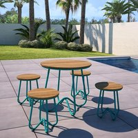 Novogratz Bobbi Bistro Set In Turquoise With 4 Stools