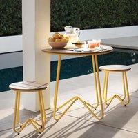 Novogratz Bobbi Bistro Set In Yellow With 2 Stools