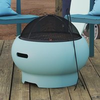 Product photograph showing Novogratz Wood Burning Fire Pit With Grilling In Aqua Haze