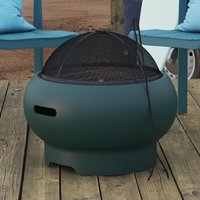 Product photograph showing Novogratz Wood Burning Fire Pit With Grilling In Dark Green