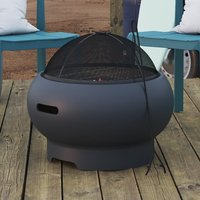 Product photograph showing Novogratz Wood Burning Fire Pit With Grilling In Dark Grey