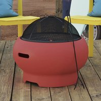 Product photograph showing Novogratz Wood Burning Fire Pit With Grilling In Red