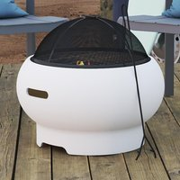 Product photograph showing Novogratz Wood Burning Fire Pit With Grilling In White