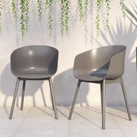 Product photograph showing Novogratz York Outdoor Charcoal Resin Dining Chairs In Pair