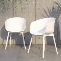 Product photograph showing Novogratz York Outdoor White Resin Dining Chairs In Pair