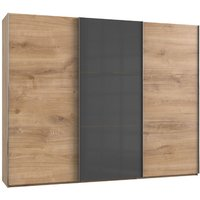 Product photograph showing Noyd Mirrored Sliding Wardrobe In Grey And Planked Oak 3 Doors