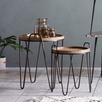 Product photograph showing Nuffield Set Of 2 Wooden Nesting Tables With Metal Frame