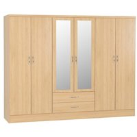 Product photograph showing Nunky Wooden 6 Doors 2 Drawers Wardrobe In Sonoma Oak
