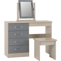 Product photograph showing Nunky 4 Drawers Dressing Table Set In Grey Gloss And Light Oak