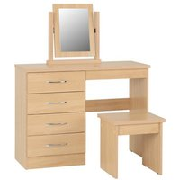 Product photograph showing Nunky Dressing Table Set In Sonoma Oak With 4 Drawers