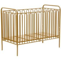 Nutkin Vintage Metal Baby Cot Bed In Gold With Mattress