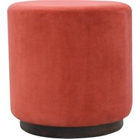 Product photograph showing Nutty Velvet Footstool In Brick Red With Dark Walnut Base