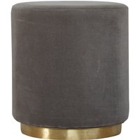 Product photograph showing Nutty Velvet Footstool In Grey With Gold Base