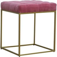Product photograph showing Nutty Velvet Square Footstool In Pink With Gold Base