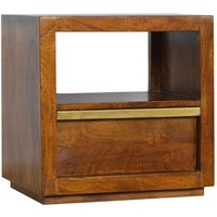 Product photograph showing Nutty Wooden Bedside Cabinet In Chestnut With Gold Bar