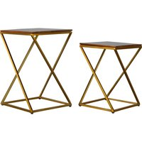 Product photograph showing Nutty Wooden Set Of 2 Nesting Tables In Chestnut With Gold Base