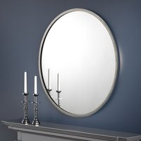 Product photograph showing Octave Round Wall Mirror With Pewter Frame