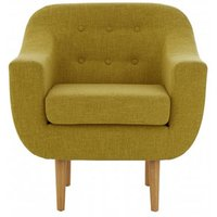 Product photograph showing Odensa Fabric Armchair In Yellow