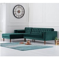 Ogma Velvet Left Facing Chaise Sofa Bed In Green