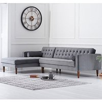 Ogma Velvet Left Facing Chaise Sofa Bed In Grey
