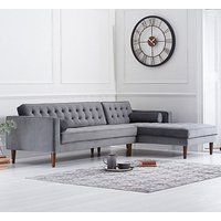 Ogma Velvet Right Facing Chaise Sofa Bed In Grey