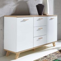 Product photograph showing Ohio Wooden 2 Door 3 Drawer Sideboard In White And Sanremo Oak