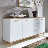 Product photograph showing Ohio Wooden 3 Door 3 Drawer Sideboard In White And Sanremo Oak