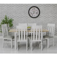 Product photograph showing Ohio Extending Dining Set With 6 Padded Slat Back Chairs