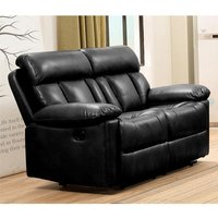 Product photograph showing Ohio Recliner Bonded Faux Leather 2 Seater Sofa In Black
