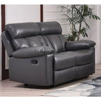 Product photograph showing Ohio Recliner Bonded Faux Leather 2 Seater Sofa In Grey