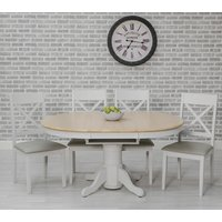 Ohio Round Extending Dining Set With 4 Padded Cross Back