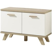 Ohio Wooden Shoe Bench In White And Sanremo Oak With 2 Doors
