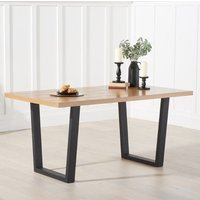 Product photograph showing Olinom Wooden Dining Table In Oak With Black Metal Legs