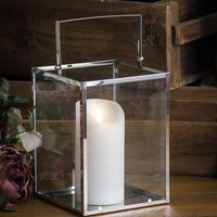 Product photograph showing Oliver Glass Silver Cube Lantern In Silver With Wax Led Candle