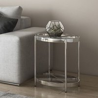 Product photograph showing Omari Glass Side Table With Stainless Steel Base