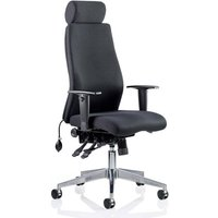 Onyx Ergo Fabric Headrest Office Chair In Black With Arms