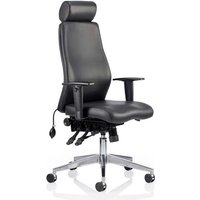 Onyx Ergo Leather Office Chair In Black With Headrest And Arms