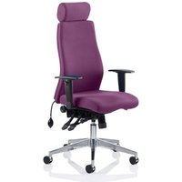 Product photograph showing Onyx Headrest Office Chair In Tansy Purple With Arms