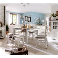Opal Extendable Dining Table 4 Chairs And Bench In White Pine