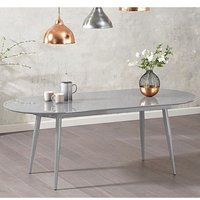 Opelsa High Gloss Extending Dining Table In Light Grey