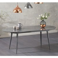 Product photograph showing Opelsa Extending Wooden Dining Table In Grey High Gloss