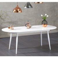 Product photograph showing Opelsa Extending Wooden Dining Table In White High Gloss